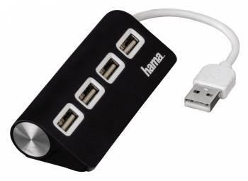 Разветвитель USB 2.0 Hama TopSide черный (00012177)
