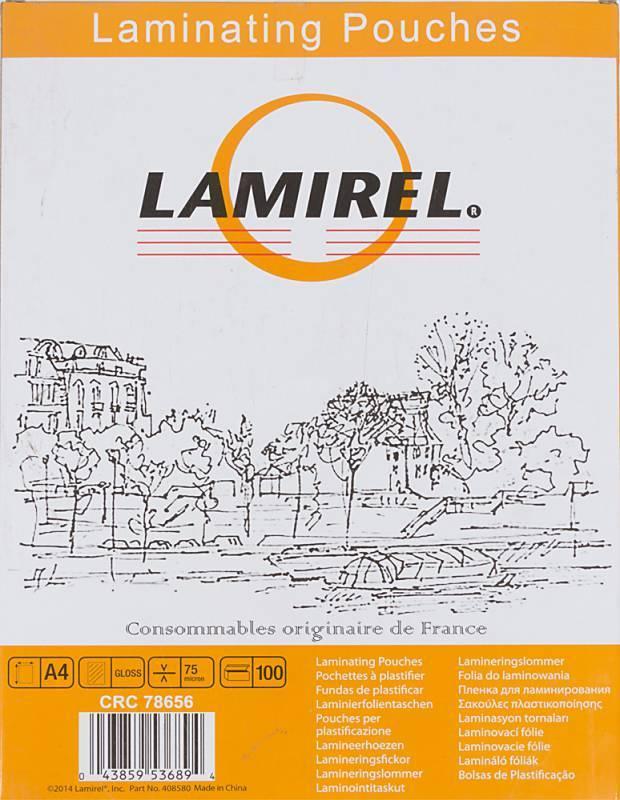 Пленка для ламинирования Fellowes Lamirel A4 75мкм (100шт) (LA-78656) - фото 1