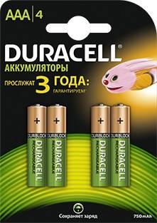 Аккумулятор AAA Duracell HR03-4BL (4шт)