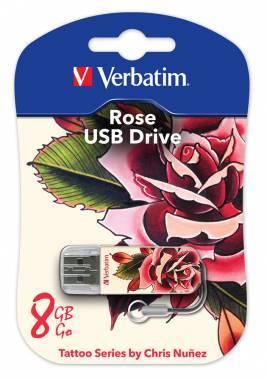 Флеш диск Verbatim Store n Go Mini Tattoo Rose 8ГБ USB2.0 белый/узор (49881)