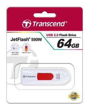Флеш диск Transcend Jetflash 590 64ГБ USB2.0 белый - фото 2