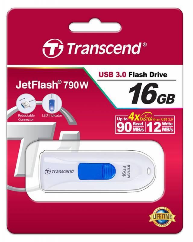 Флеш диск Transcend Jetflash 790 16ГБ USB3.0 белый - фото 2