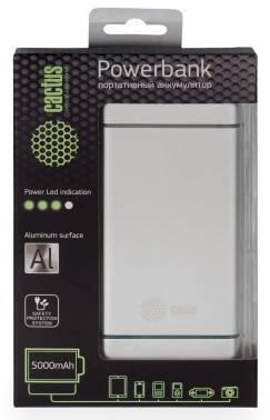 Мобильный аккумулятор CACTUS CS-PBMS028-5000AL серебристый