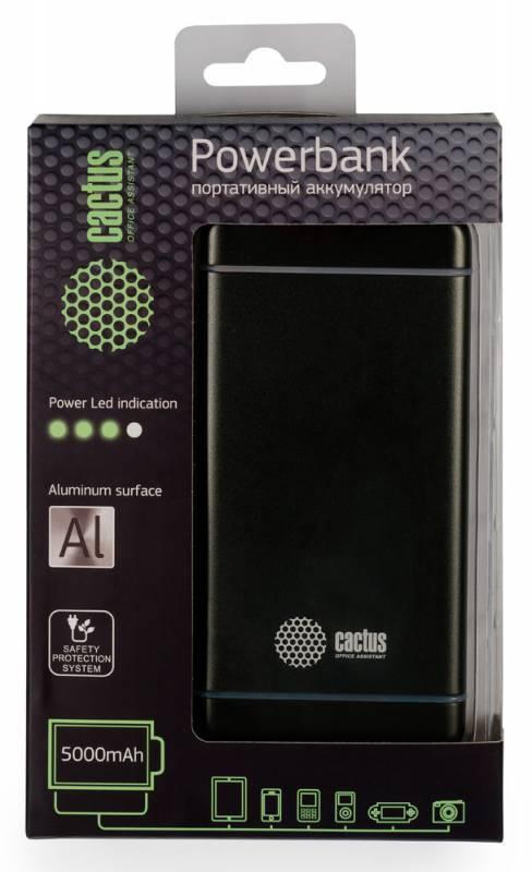 Мобильный аккумулятор CACTUS CS-PBMS028-5000SG графит - фото 1