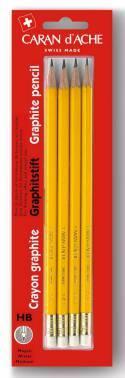 Набор Carandache 351.372 карандашей чернографитовых с ластиком желтый НВ блистер (4шт)